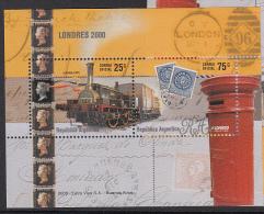 TRAINS -  ARGENTINA - 2000- LONDON EXPO  SOUVENIR SHEET  MINT NEVER HINGED - Treni