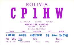 Amateur Radio QSL Card - CP1HW - Bolivia - 1969 - Radio Amateur