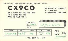 Amateur Radio QSL Card - CX9CO - Montevideo, Uruguay - 1968 On 28MHz - Radio Amateur