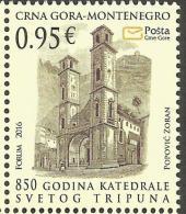 CG 2016-12 850A°THE CATHEDRALOF SAINT TRYGHON, CRNA GORA MONTENEGRO, 1 X 1v, MNH - Montenegro