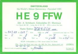 Amateur Radio QSL Card - HE9FFW - Switzerland - 1969 - 2 Scans - Radio Amateur