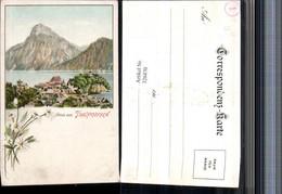 326470,Litho Gruß Aus Traunkirchen Totale Bergkulisse Blumen - Austria