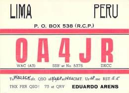 Amateur Radio QSL Card - OA4JR - Lima, Peru - 1968 - Radio Amateur