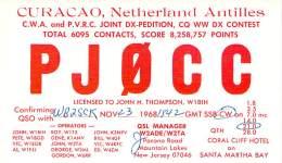 Amateur Radio QSL Card - PJ0CC - Curacao, Neth. Antilles - 1968 CQ WW DX On 21MHz - Radio Amateur