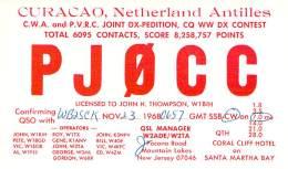 Amateur Radio QSL Card - PJ0CC - Curacao, Neth. Antilles - 1968 CQ WW DX On 7MHz - Radio Amateur