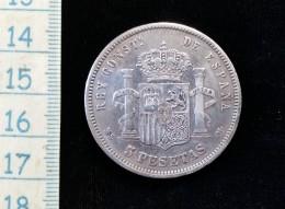 Monnaie De 5 Pesetas 1881 M, Alfonso XII,  Argent - Primi Conii