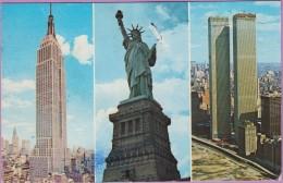 Usa °° NYC - Les Trois Grands Symboles Américains - 9x14 - écrite 1992 - World Trade Center
