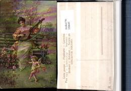 330645,Künstler AK Hans Zatzka Tanzstunde Frau M. Mandoline Amor Engel - Zatzka