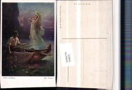 330635,Künstler AK Hans Zatzka Der Fischer Ruderboot Wassernymphe - Zatzka