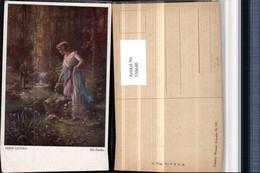 330640,Künstler AK Hans Zatzka Die Forelle Frau M. Kleid Mann Fischer Bach - Zatzka