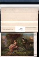 330648,Künstler AK Hans Zatzka Belauscht Frau Kleid Hut Korb Mann Lauscht - Zatzka