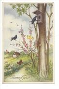 15013 -  Bonne Fête Oiseaux Arbre Prairie Papillons Par Petersen HWB 8684 - Petersen, Hannes