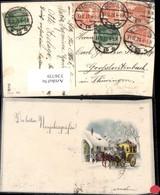 336739,Künstler Ak Kutsche Postkutsche Winterdorf Neujahr - Taxi & Carrozzelle