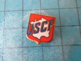 PIN216b Pin´s Pins /       ASSOCIATION : USCF UNION SPORTIVE DU CHEMINOT FRANCAIS CARTE DE FRANCE HEXAGONE   INSCRIPTION - Associazioni