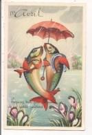 Carte Fantaisie   Argentée - 1er Avril - Préparez Tout Pour A Cuisson De Ces Petits Poissons (M D Série 1025) - 1er Avril - Poisson D'avril