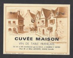 Etiquette De Vin De Table  -   Restaurant Mr Et Mme Leconte à Surville  (50)  -  Ets SCG à  Quibou (50) - Labels