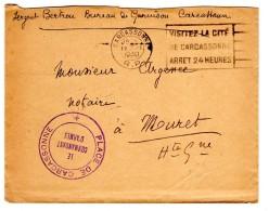 OMEC Krag - CARCASSONNE R.P. Double Cercle - 12.VII.1940 S/lettre En Franchise : PLACE DE CARCASSONNE/LE COMMANDANT D'AR - Marcofilia (sobres)