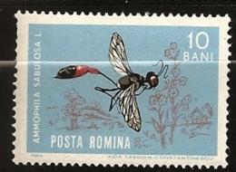 Roumanie Romania 1964 N° 1969 Iso ** Insecte, Animal, Amnophila Sabulosa, Fleur, Guêpe Fouisseuse, Ammophile Des Sables - Ungebraucht