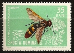 Roumanie Romania 1964 N° 1970 Iso ** Insecte, Animal, Fleur, Scolia Maculata Drury, Scolie Des Jardins Guêpe Hyménoptère - Ungebraucht