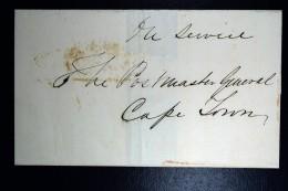 Cape Of Good Hope 1857 Middelburg Town Oval + Cape Town In Red In Service ToPostmaster - Capo Di Buona Speranza (1853-1904)