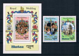 Bhutan 1981 Royal Wedding - Charles Und Diana Mi.Nr. 756/59 / Block 85 /757/58 Kleinbogen ** - Bhutan