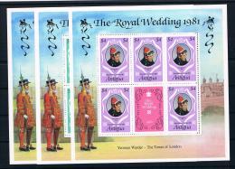 Antigua 1981 Royal Wedding - Charles Und Diana Mi.Nr. 628/30 C Kleinbogensatz ** - Antigua Und Barbuda (1981-...)