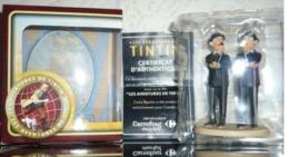 "Figurines Figurine Plastique BD TINTIN ""Carrefour Market"" Figurine DUPONT ET DUPOND  Boîte D'origine + Certificat - Tintin"