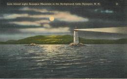 Etats-Unis - Phares - Phare - New Hampshire - Loon Island Light - Sunapee Mountain In The Background  , Lake Sunapee - Etats-Unis