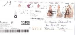 Lettre Recommandée Contemporaine Avec Série De 5 Timbres De Lleida à Rocourt - 1931-Aujourd'hui: II. République - ....Juan Carlos I