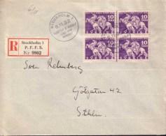 Sweden - Envelope 4-block 10 öre Lützen, Special Cancellation 6.11.32 - 1920-1936 Coil Stamps I