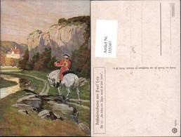 355347,Künstler Ak Paul Hey Mann A. Pferd Bläst Posthorn Postwesen Post - Post & Briefboten