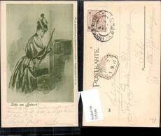 355346,Künstler Ak Frau Wirft Brief I. Briefkasten Postwesen Post Hut Koffer Pub Acke - Post & Briefboten