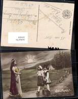 355454,Vers La France Patriotik Frau Kinder Mädchen 1915 Frankreich - Geschichte