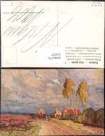 355527,Künstler Ak F. Bayerlein Kutsche Birke Landschaft - Taxi & Carrozzelle