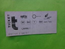 Ticket De Transport Parisien - Tickets D'entrée