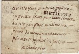 LOIRE - 68 St Etienne- Lettre Pour St Marcels Des Felines -PD38x8 -Tm4 - Sans Date - Storia Postale