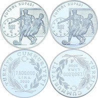 AC - 2000 EURO FOOTBALL CUP BELGIUM - NETHERLANDS COMMEMORATIVE MEDAL & COIN ALIGNMENT SILVER PAIR COINS PROOF - UNCIRCU - Turkije
