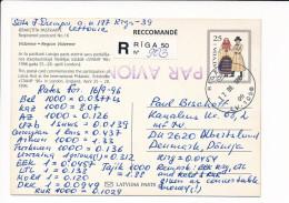 Mi P25 Registered Stationery Ganzsache Entier Postcard - 17 September 1996 Riga-50 To Denmark - Stamp '96 London - Latvia