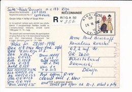 Mi P26 Registered Stationery Ganzsache Entier Postcard - 28 October 1996 Riga-50 To Denmark - Latvia