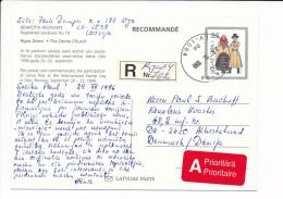 Mi P27 Registered Stationery Ganzsache Entier Postcard - 30 December 1996 Riga-84 To Denmark - Frimerkets Dag Oslo '96 - Latvia
