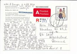Mi P29 Registered Stationery Ganzsache Entier Postcard - 5 December 1996 Riga-11 To Denmark - Frimærker I Forum '96 - Latvia