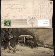 354576,Künstler Ak L. Schröpler Kutsche Winternacht B. Sturm Neujahr - Taxi & Carrozzelle