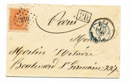 Lettre TP 33 Superbe Losange De Points 340 SPA 1871 Vers PARIS - Passage Ambulant FRANCE EST V  --  WW901 - 1869-1883 Leopold II