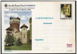 Romania/Roumanie: Intero, Stationery, Entier, Castello Castle Château, Dracula, Vlad Tepes, Lions - Famous People