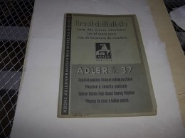 ADLER KLASSE 37 CLASSE 37 CLASS 37 CLASE 37 / DEUTSCH, FRANCAIS, ENGLISH, ESPANOL, Machine à Coudre, Nähmaschine, Sewing - Factures & Documents Commerciaux
