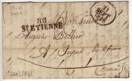 LOIRE - 88 St Etienne- Lettre à Peyrus-PD 38x10- Tm3 - 1828 - Marcofilia (sobres)