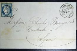 France: Letrre 1875 Gare De Montélimar A Timbre ML 1 Verso Marseille A Lyon C - Poststempel (Briefe)