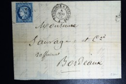 France: Lettre 1873  Ambulant PT  Përigueux A Toulouse A  (ne Touchant Pas Paris) - 1849-1876: Klassik