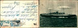 2832a)cartolina-   Nave Passeggeri M/nvulcania - Barche