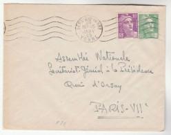 1949 Sens Sur Yonne FRANCE COVER Stamps 10f,  5f Marianne De Gandon - France